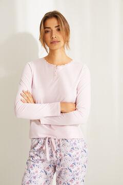 Womensecret Хлопковая футболка с длинными рукавами розового цвета розовый