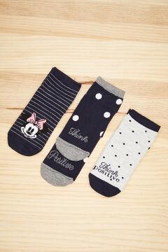 Womensecret Набор из 3 пар хлопковых коротких носков в горошек «Микки Маус» цветной
