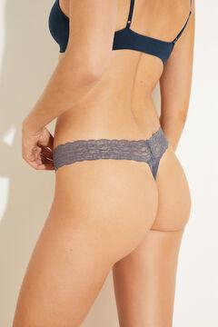 Womensecret Трусики-танга из микрофибры и кружева синего цвета голубой