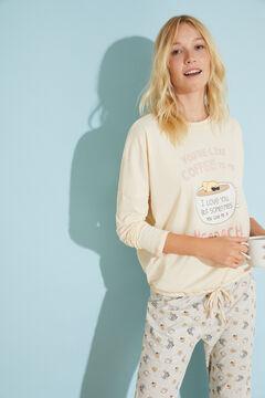 Womensecret Длинная хлопковая пижама кремового цвета цветной