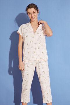 Womensecret Длинная пижама в рубашечном стиле из 100 % хлопка «Губка Боб» розовый