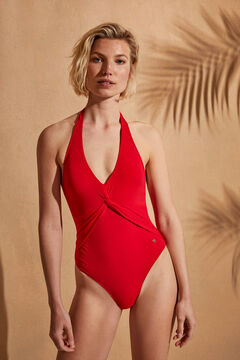 Womensecret Красный моделирующий купальник с V-образным вырезом халтер красный