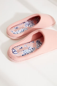 Womensecret Розовые хлопковые домашние тапочки без задника розовый