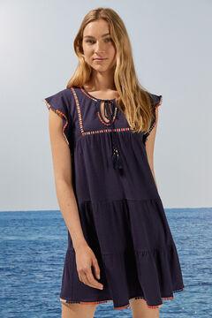 Womensecret Короткое платье с рукавами «колокол», вышивкой и помпонами голубой