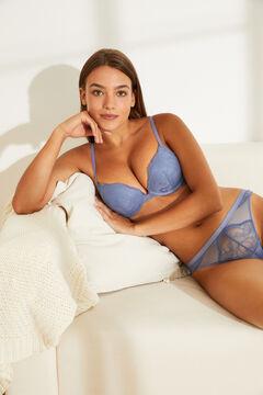 Womensecret Бюстгальтер с вырезом халтер, наполнителем и кружевом синего цвета голубой