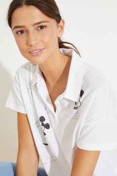Womensecret Длинная пижама в рубашечном стиле из хлопка бежевый