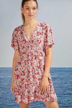 Womensecret Короткое платье с цветочным принтом и оборками из экоматериалов цветной