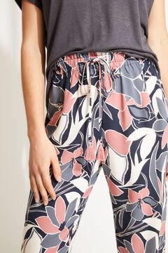 Womensecret Синие длинные брюки с цветочным принтом коричневый