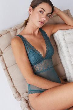 Womensecret Бирюзовое кружевное боди с треугольными чашечками голубой