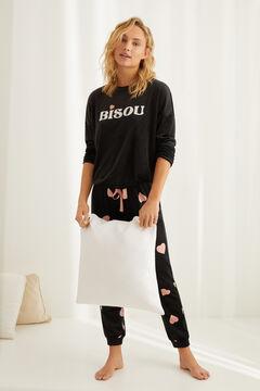 Womensecret Длинная бархатная пижама «Bisou» черный