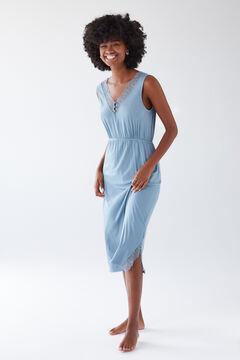 Womensecret Синяя короткая ночная рубашка из невероятно мягкой ткани голубой