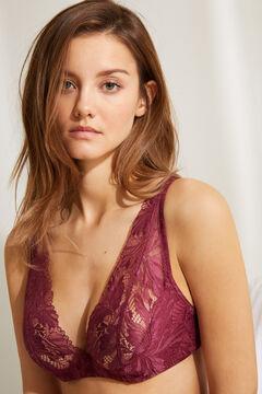 Womensecret INTUITIVE Бордовый кружевной бюстгальтер халтер на косточках и с наполнителем цветной