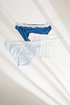 Womensecret Набор из 3 классических трусиков из хлопка синего цвета голубой