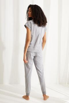 Womensecret Хлопковая длинная пижама в полоску «Снупи» серый