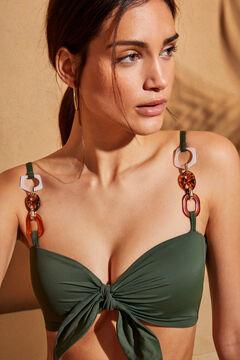 Womensecret Зеленый бикини-топ бралетт с бретелями-цепочками зеленый