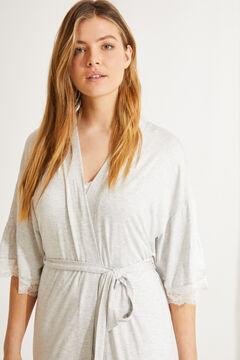 Womensecret Серый халат миди из невероятно мягкой ткани с воланами серый