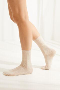Womensecret Носки средней длины в рубчик бежевый