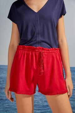 Womensecret Красные шорты из хлопка с бахромой красный