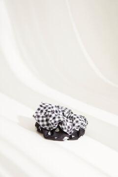 Womensecret Набор резинок для волос с принтом в клетку «виши» и сердечками черный