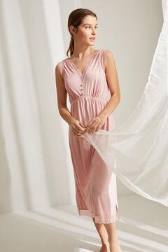 Womensecret Ночная рубашка миди на бретелях нежно-розового цвета розовый