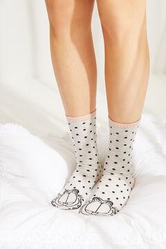 Womensecret Белые носки в горошек «Гарфилд» бежевый