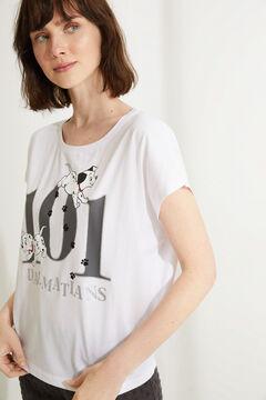 Womensecret Хлопковая пижама с короткими рукавами и брюками капри «101 далматинец» белый
