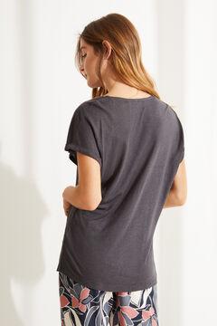 Womensecret Серая льняная футболка с треугольным вырезом серый