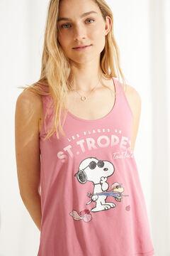 Womensecret Короткая пижама с верхом на бретелях из 100 % хлопка «Снупи» розового цвета розовый