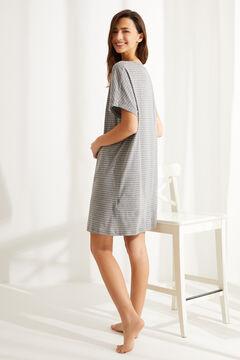 Womensecret Короткая ночная рубашка из хлопка с полосатым принтом «Снупи» серый