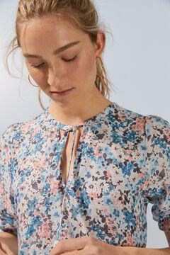 Womensecret Платье миди с цветочным принтом и воланами из экоматериалов голубой