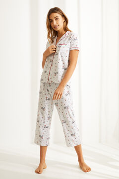 Womensecret Пижама в рубашечном стиле капри из органического хлопка с велосипедами серый