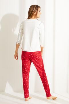Womensecret Длинная пижама из органического хлопка с цветочным принтом бежевый