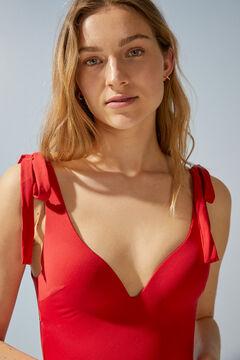Womensecret Красный моделирующий купальник с треугольным вырезом и завязками красный
