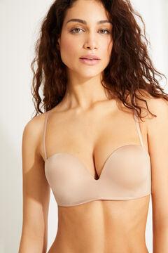 Womensecret Wireless super push up strapless bra бежевый