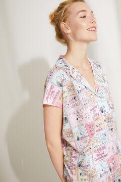 Womensecret Короткая пижама в рубашечном стиле из хлопка розового цвета «Снупи» розовый