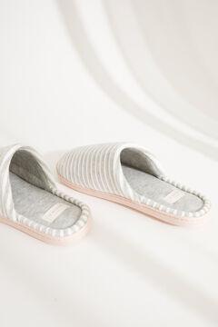 Womensecret Серые домашние тапочки без задника из велюра в полоску серый