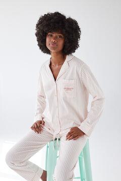 Womensecret Пижама в рубашечном стиле из экологичного хлопка с полосатым принтом красный