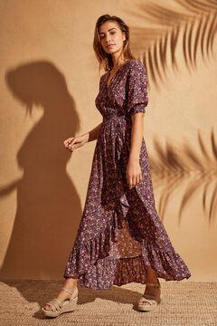 Womensecret Длинное платье с треугольным вырезом и цветочным принтом голубой