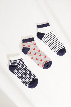 Womensecret Набор из 3 пар хлопковых коротких носков с сердечками цветной