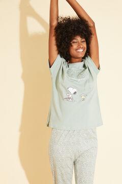 Womensecret Хлопковая длинная пижама зеленого цвета «Снупи» зеленый