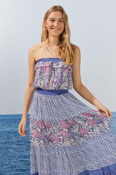 Womensecret Длинное платье с цветочным принтом и воланами розовый