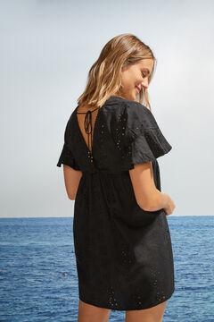 Womensecret Платье-туника из хлопка с завязками на спине черный