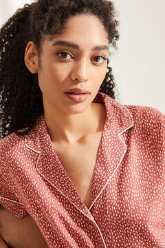 Womensecret Пижама в рубашечном стиле с короткими рукавами и анималистичным принтом красного цвета коричневый