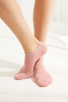 Womensecret Короткие хлопковые носки с люрексом в горошек розового цвета цветной