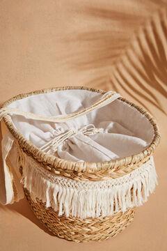Womensecret Пляжная сумка из рафии с полосатым принтом бежевый
