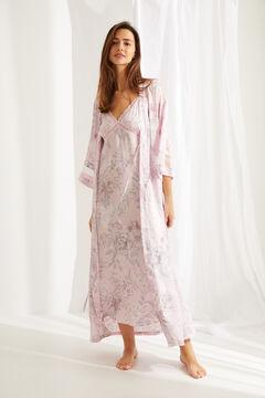Womensecret Длинный атласный халат с запахом и поясом с цветочным принтом розового цвета розовый