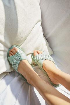 Womensecret Домашние тапочки из хлопка с перекрещенными ремешками зеленый