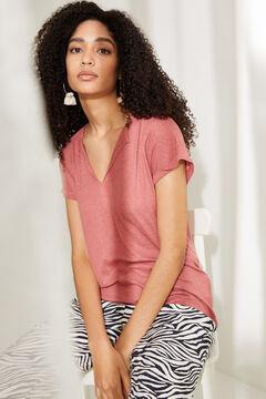 Womensecret Красная льняная футболка с треугольным вырезом розовый