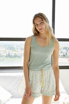 Womensecret Короткая пижама с верхом на бретелях из органического хлопка зеленый