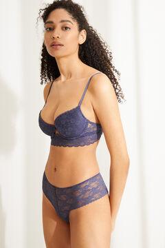 Womensecret Синий классический бюстгальтер BEAUTIFUL из кружева с наполнителем голубой